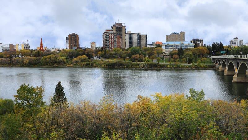 View of Saskatoon, Canada cityscape over river. A View of Saskatoon, Canada cityscape over river stock image