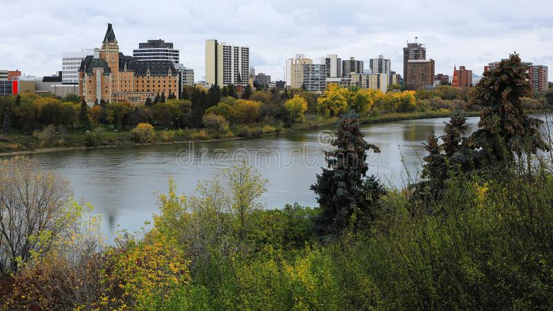 View of Saskatoon, Canada downtown by river. A View of Saskatoon, Canada downtown by river royalty free stock image
