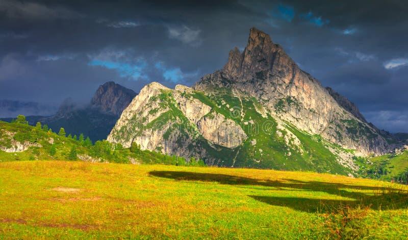 View of the Sass De Stria mountain range. Fantastic summer landscape on the Sass De Stria mountain range. View from Falzarego pass. Dolomites mountains, Alps stock images