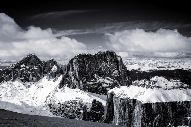 View from Sass Pordoi in the Upper Part of Val di Fassa. In Italy stock image