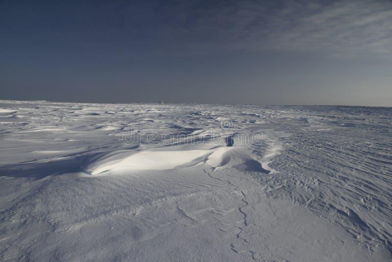 View of Sastrugi, wind carved ridges in the snow, near Arviat, Nunavut. Side view of Sastrugi, wind carved ridges in the snow, near Arviat, Nunavut, winter scene stock photo