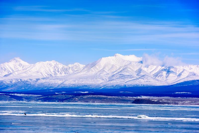 View of Sayan Mountains from Hovsgol Lake royalty free stock photography