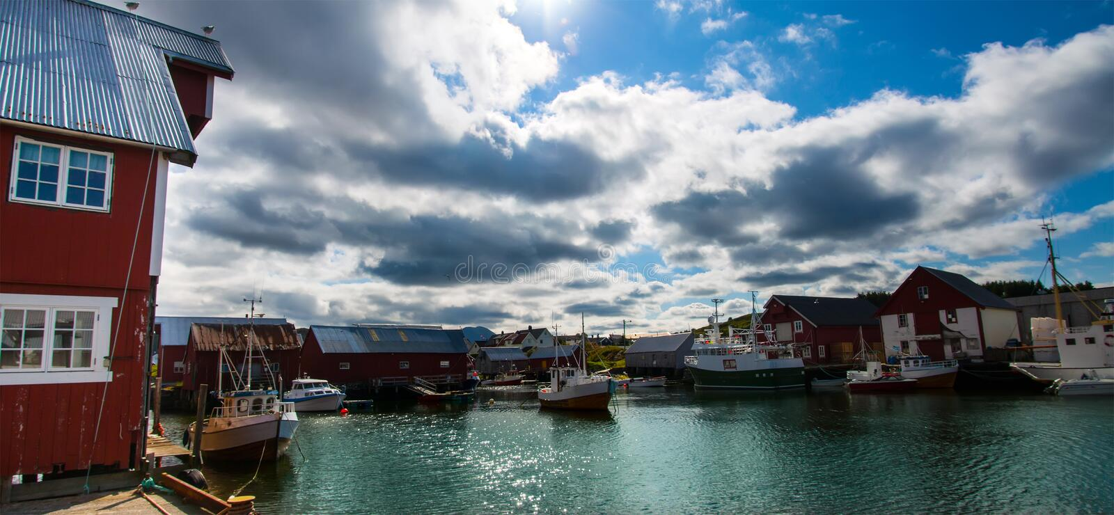 View of scandinavian fishing village, Bud, Norway royalty free stock image