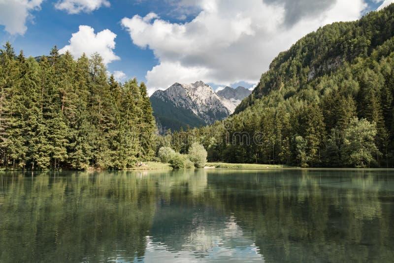 View on scenic mountain lake plansarsko, slovenia stock photo