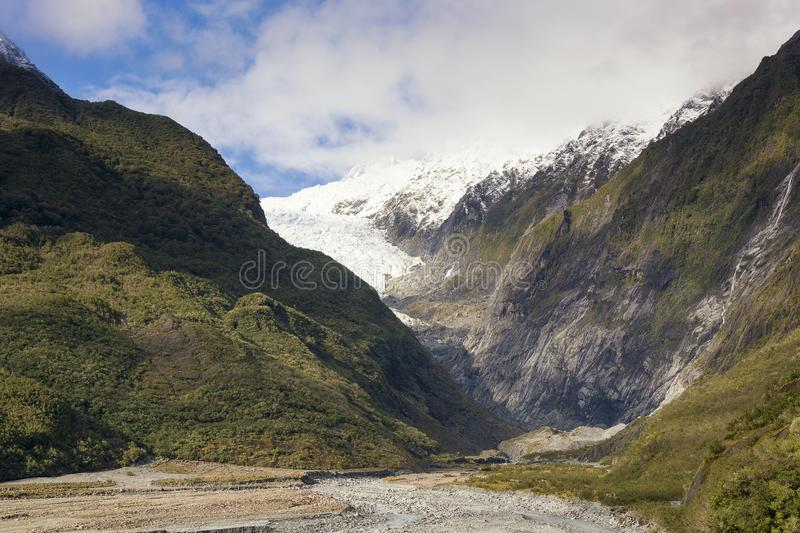 View on the scenic panorama of the Franz Josef Glacier on the west coast of New Zealand. royalty free stock photos