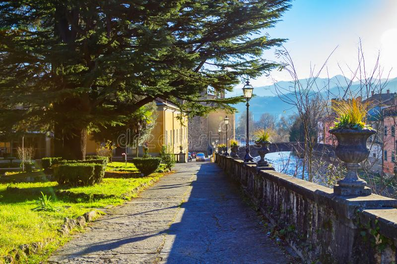View of scenic Pontremoli village and Magra river in the Apennine mountains, province of Massa and Carrara, Tuscany region, Italy. PONTREMOLI, ITALY - JANUARY 06 royalty free stock photos