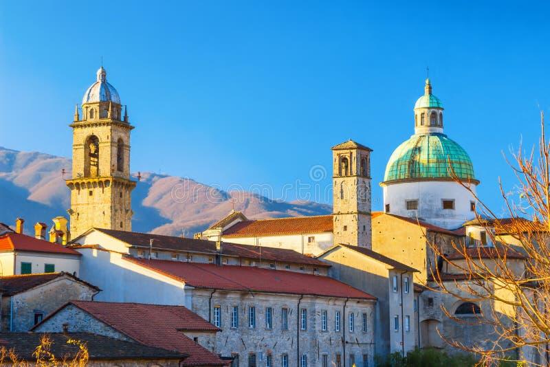 View of scenic Pontremoli village, province of Massa and Carrara, Tuscany region, Italy. PONTREMOLI, ITALY - JANUARY 06, 2015: View of scenic Pontremoli village royalty free stock image