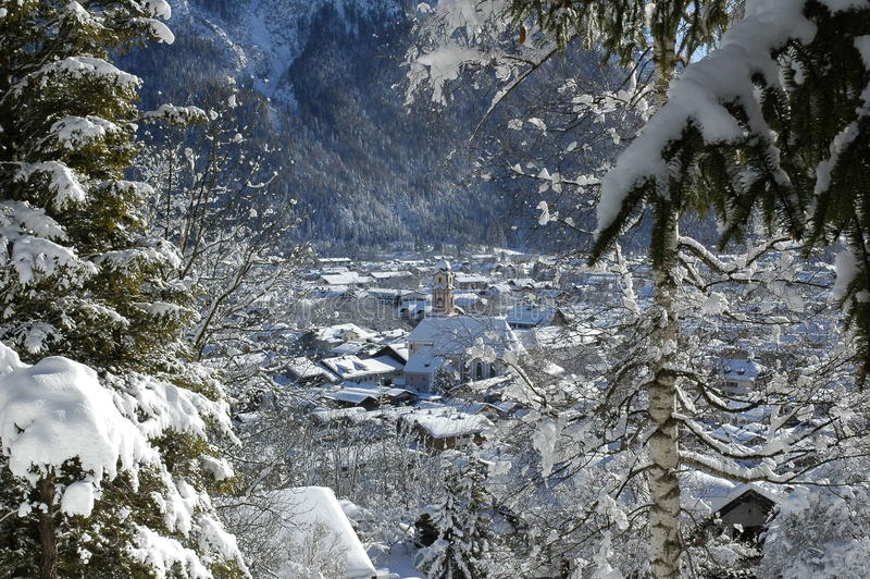 View of scenic winter landscape in the Bavarian Alps royalty free stock image
