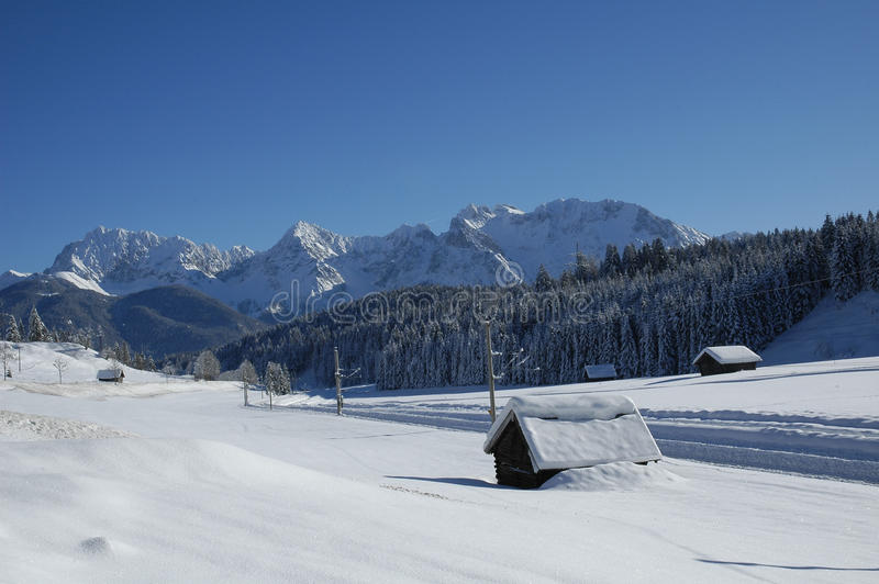 View of scenic winter landscape in the Bavarian Alps stock image