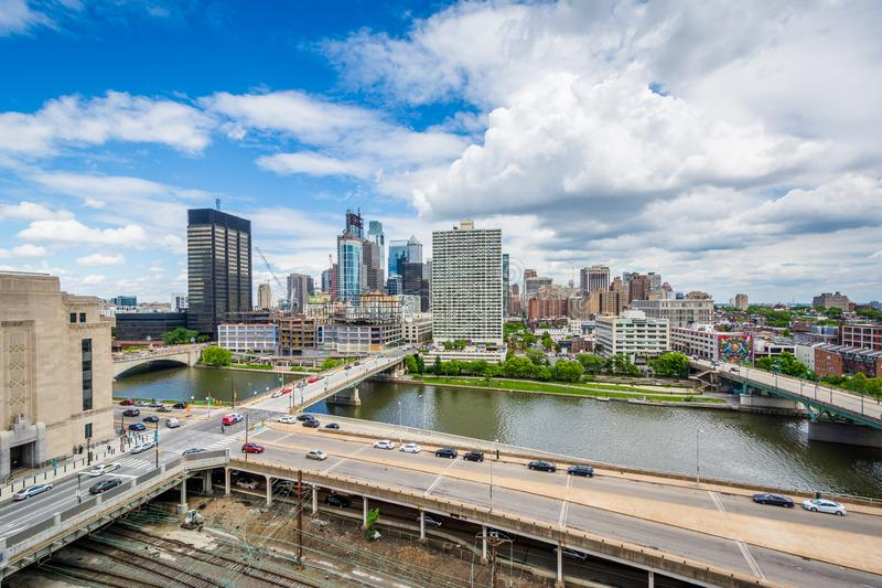 View of the Schuylkill River and skyline of Philadelphia, Pennsylvania.  royalty free stock image