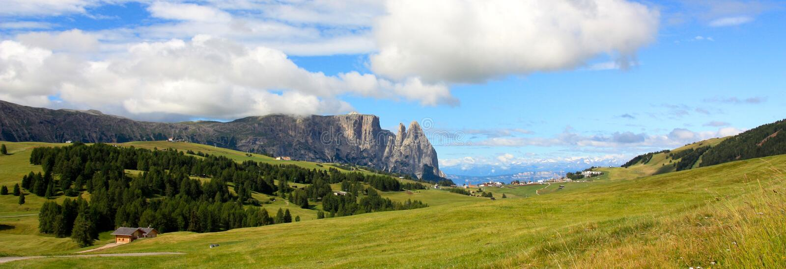 View of the Sciliar, Dolomites, Italy. A view of the Sciliar mountain near Siusi, Dolomites, Italy stock photo