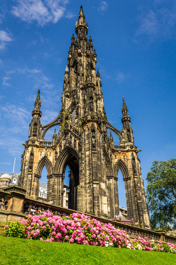 View of Scott Monument in Scotland. In summer royalty free stock photos