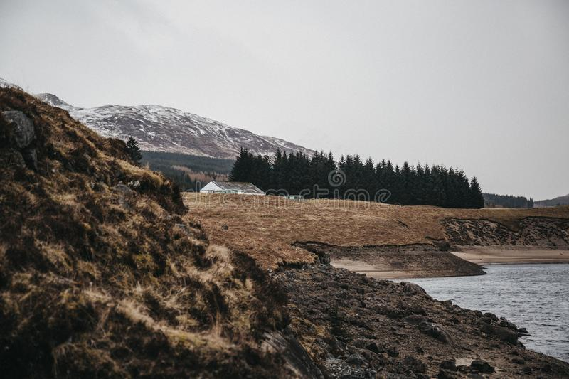 View of Scottish Highlands and River Spean near Fort William, Scotland. On a cold spring day royalty free stock images