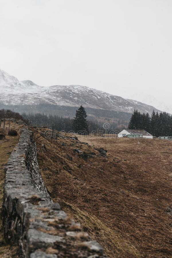 View of Scottish Highlands and River Spean near Fort William, Scotland. On a cold spring day royalty free stock photography