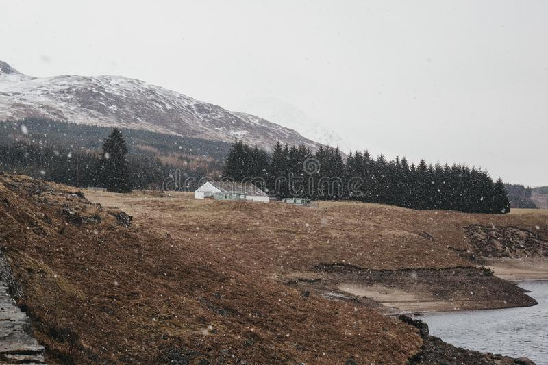 View of Scottish Highlands and River Spean near Fort William, Scotland. On a cold spring day royalty free stock photos