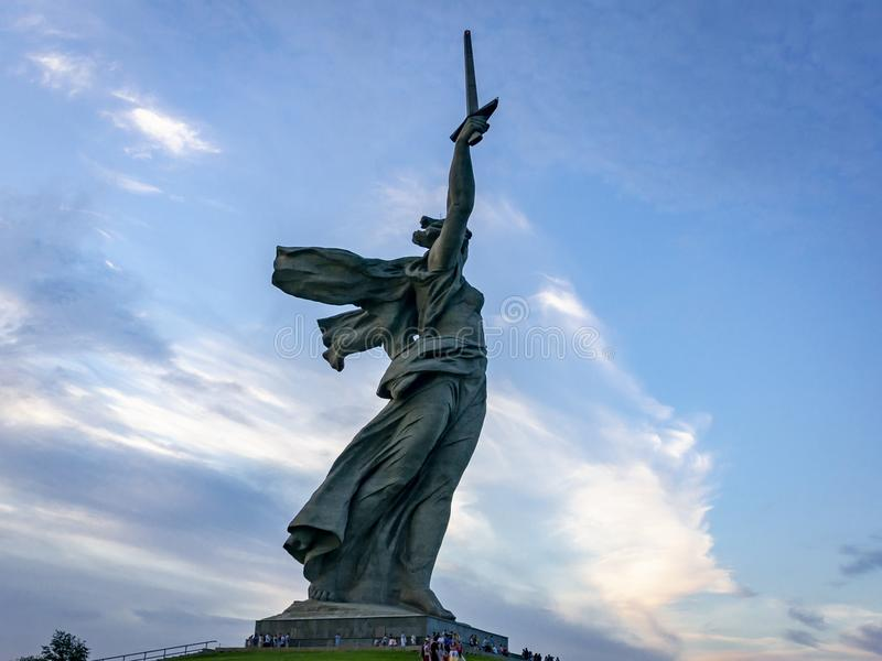 View on the sculpture Motherland Calls on the top of The Mamayev Kurgan, memorial complex of the Stalingrad Battle royalty free stock photo