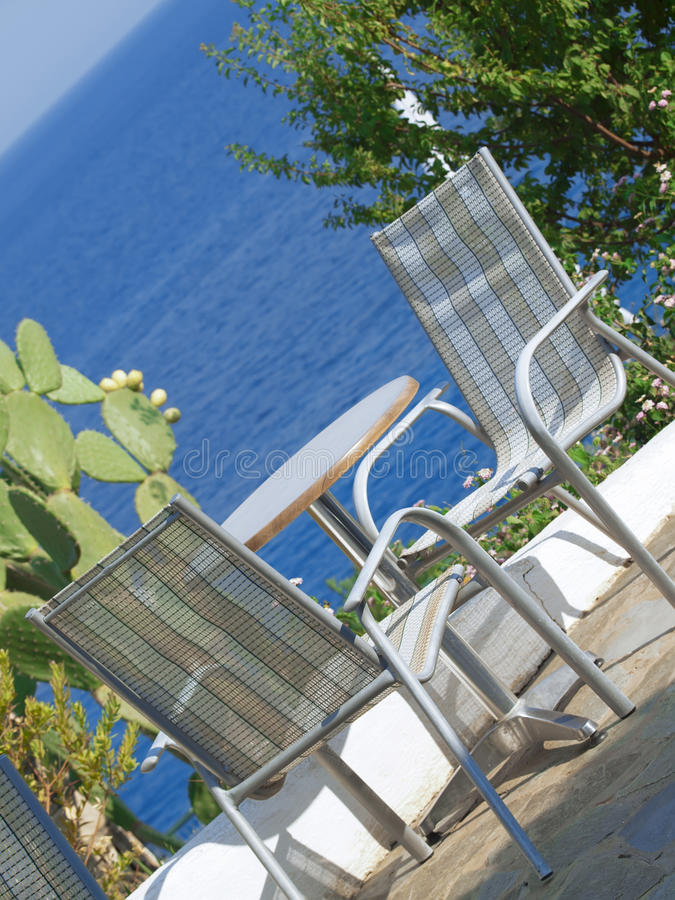 View on the sea from the bar. Greece, Kefalonia royalty free stock image