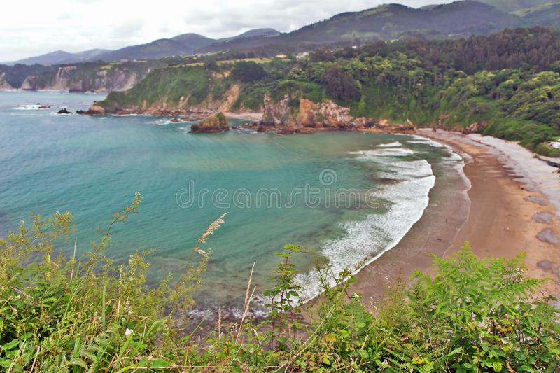 View of a sea bay with steep coast. stock image