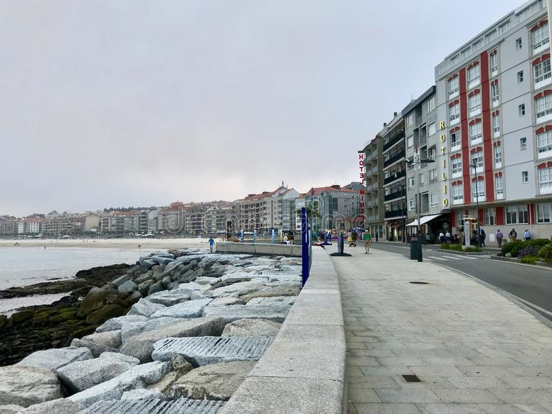 View of the sea during a cloudy day in Sanxenxo Galicia Spain royalty free stock photography