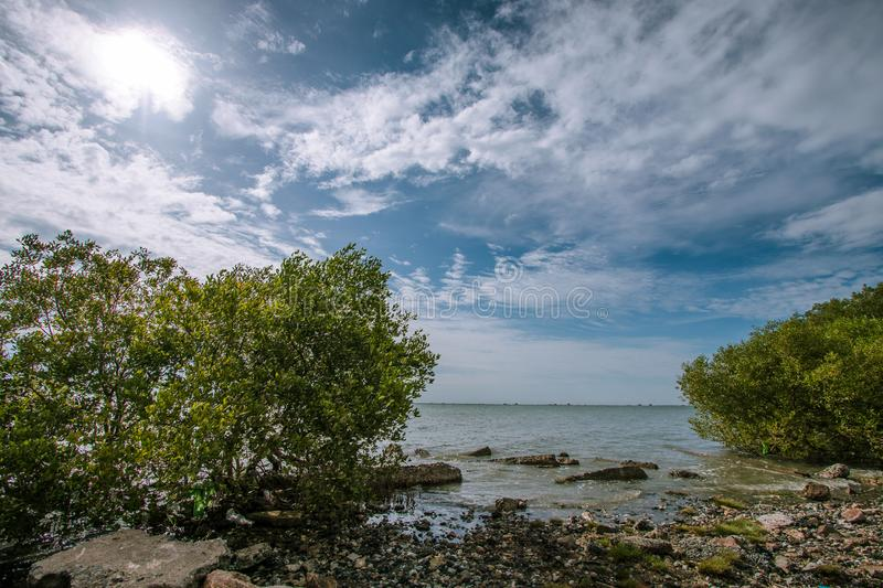 View of the sea and blue sky In Chonburi, Thailand. View of the sea and blue sky Tourist attractions in Chonburi, Thailand stock photo