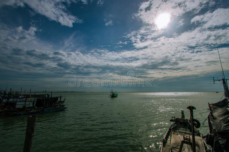 View of the sea and blue sky In Chonburi, Thailand. View of the sea and blue sky Tourist attractions in Chonburi, Thailand royalty free stock photo