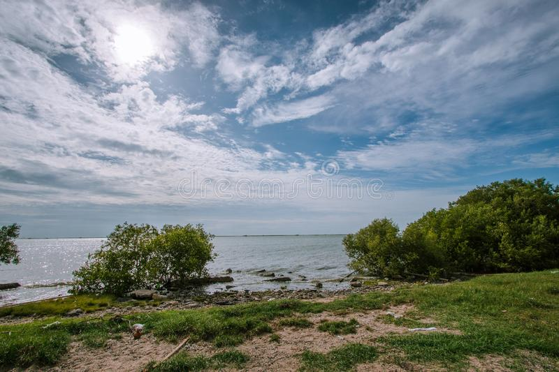 View of the sea and blue sky In Chonburi, Thailand. View of the sea and blue sky Tourist attractions in Chonburi, Thailand royalty free stock photography