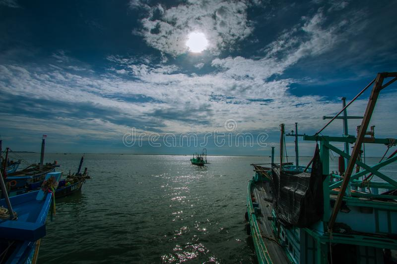 View of the sea and blue sky In Chonburi, Thailand. View of the sea and blue sky Tourist attractions in Chonburi, Thailand royalty free stock images