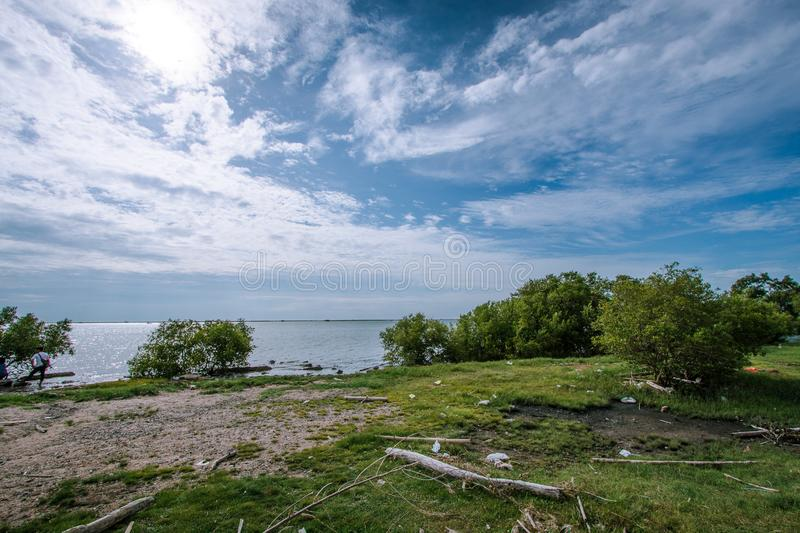 View of the sea and blue sky In Chonburi, Thailand. View of the sea and blue sky Tourist attractions in Chonburi, Thailand stock photos