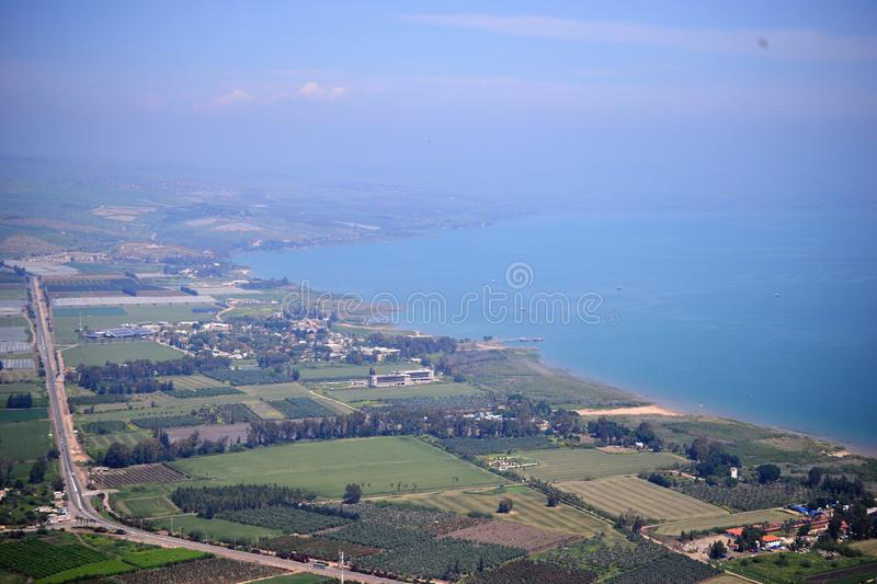 View of the sea of Galilee Kinneret lake from Mt. Arbel mountain, beautiful lake landscape, Israel, Tiberias royalty free stock images