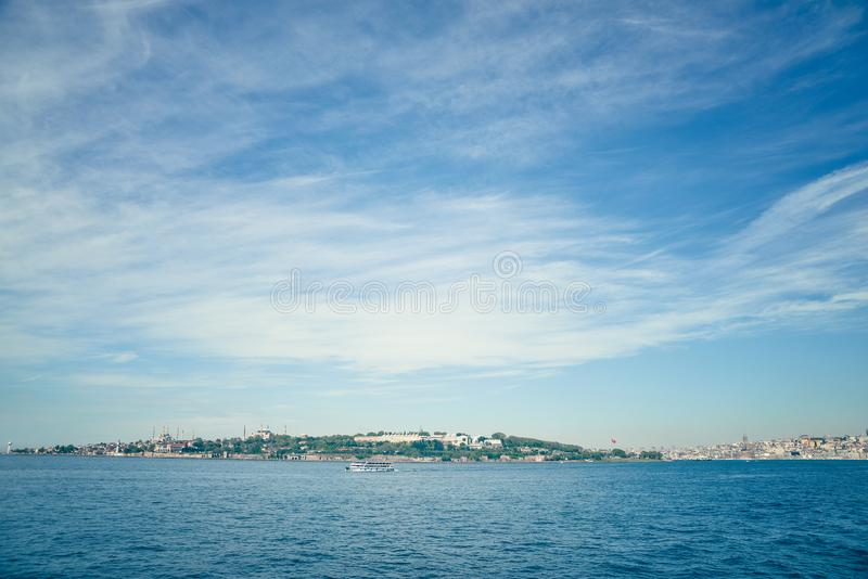 View from the sea at the mosque in Istanbul. View from the sea on Hagia Sofia and the Blue Mosque royalty free stock photo
