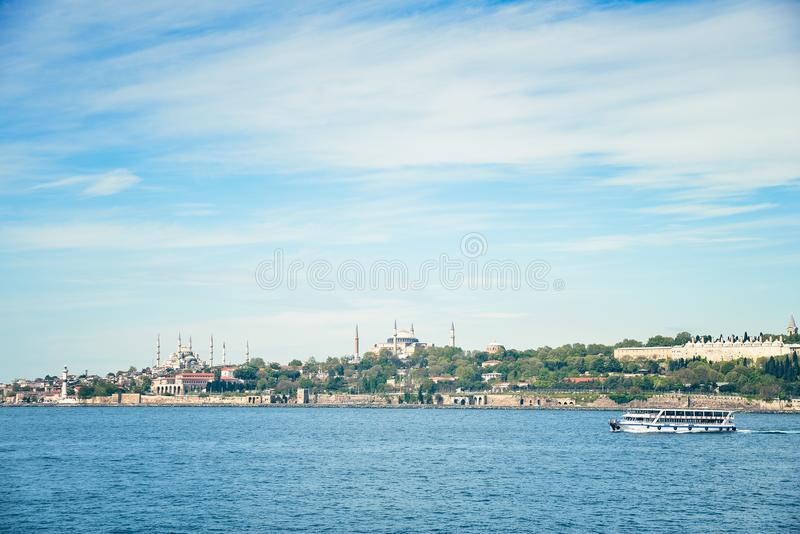 View from the sea at the mosque in Istanbul. View from the sea on Hagia Sofia and the Blue Mosque royalty free stock images