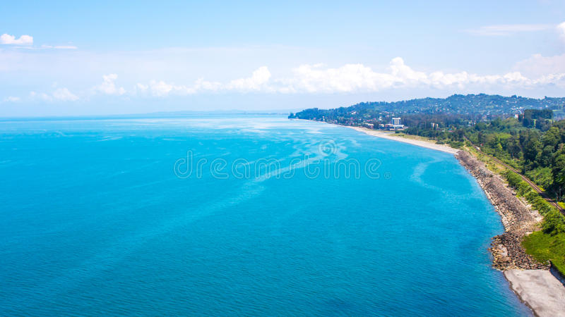 View of sea from the height of the mountain, Chakvi, Georgia stock photo