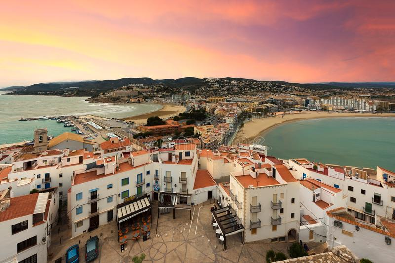 View of the sea from a height of Pope Luna`s Castle. Valencia, S royalty free stock image
