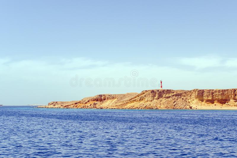 View from the sea at the lighthouse port of Sharm el Sheikh. Egypt.  royalty free stock photo