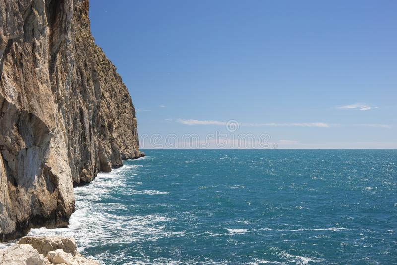 View of sea and part of Ifach rock in Calpe stock photos