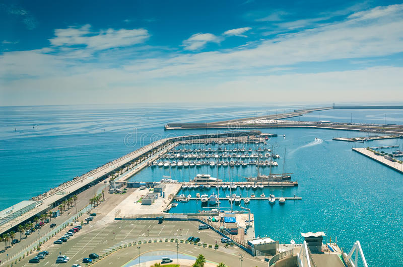 View on sea port and wharf with yachts in Valencia, Spain stock photography