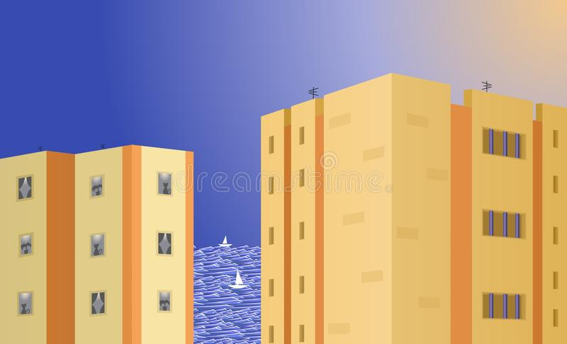 The view of the sea from the second line stock photo