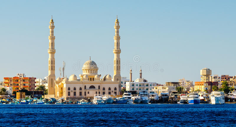 View from the sea to Hurghada stock image