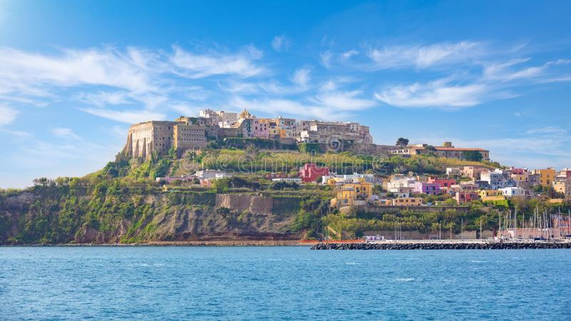 View from sea to rocky coast of island of Procida, southern Italy royalty free stock photography