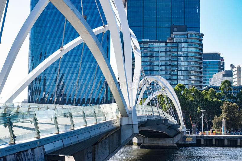 View of the Seafarers Bridge in Melbourne, Australia. View seafarers bridge melbourne australia victoria tourism structure architecture design modern yarra river stock photography