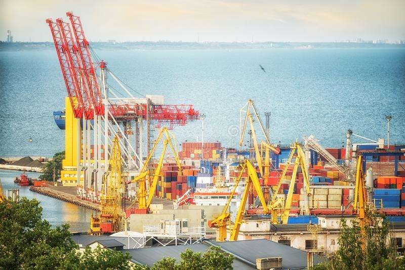 View of the seaport, port cranes and the container at the pier. Black Sea. Odessa. royalty free stock photos