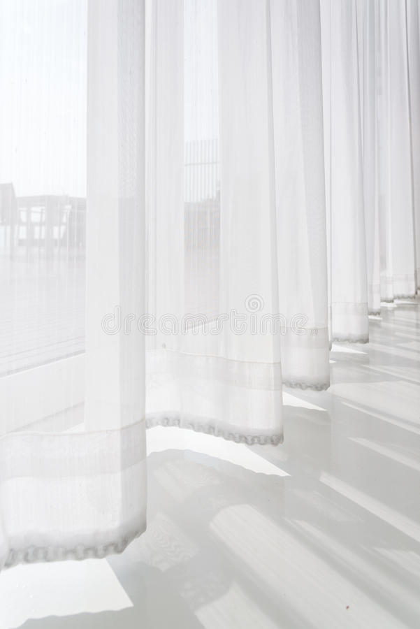View Seascape Looking Pass Translucent White Fabric Curtains And ...