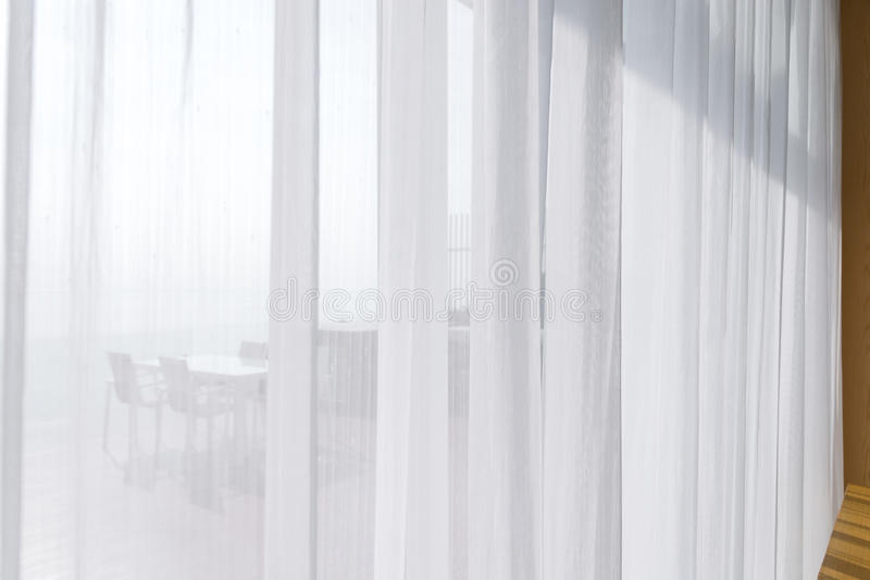 View Seascape Looking Pass Translucent White Fabric Curtains And