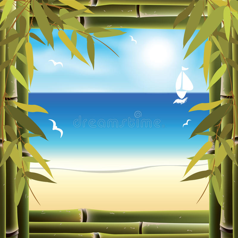 View of the seashore from the resort hotel window vector illustration
