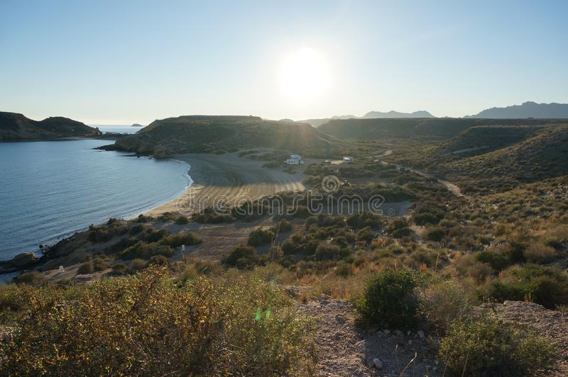 View on the seaside from nature reservation in Spain stock image