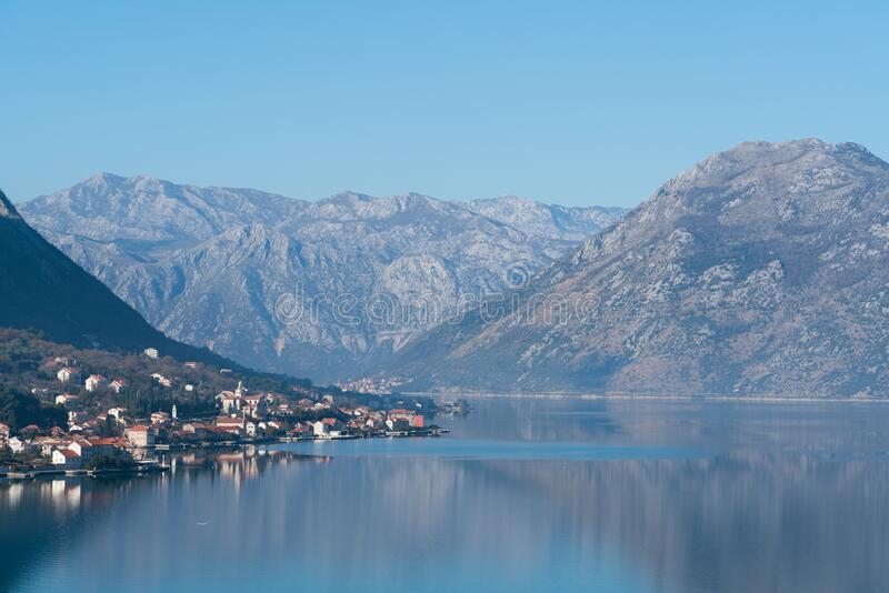View of seaside town of Prcanj in winter, Montenegro. stock photography