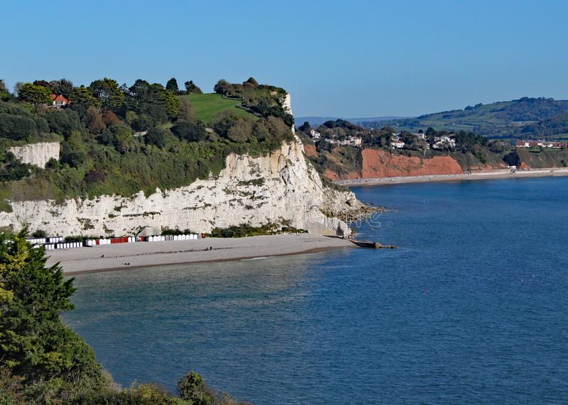 The view of Seaton Bay from the small Devon seaside village of Beer royalty free stock image