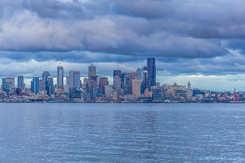 Dark Clouds Over Seattle royalty free stock image