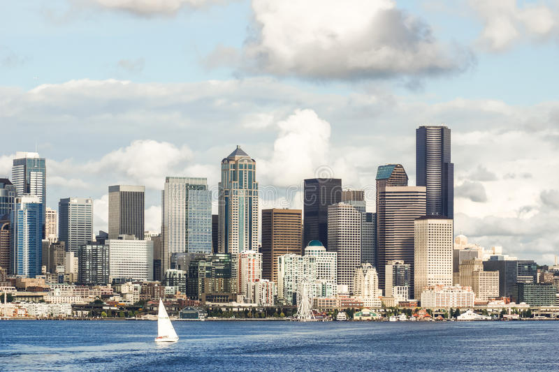 View of Seattle skyline and waterfront with yacht. stock photos