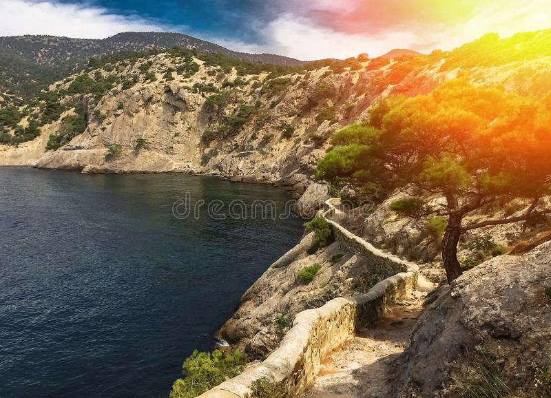 View of a secluded sea bay in summer surrounded by mountain cliffs with lush pine and an ancient mountain path along the coast in. The light of the bright royalty free stock photography